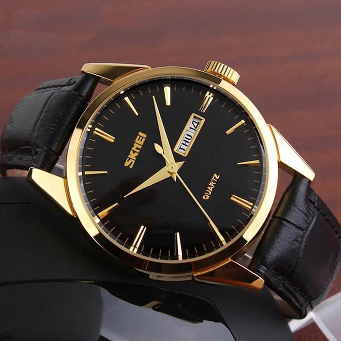 Đồng hồ dây da Skmei 9073 đen