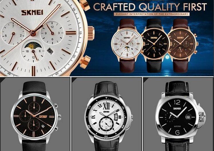 Đồng hồ nam dây da SKMEI 9078 với 6 kim lịch lãm
