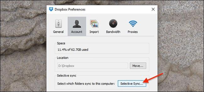 "Nhấn chọn nút ""Selective Sync"""